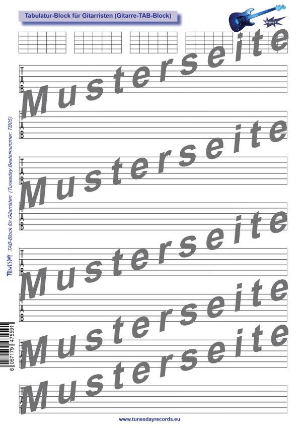 Noten- und Tabulatur-Block für Bassisten - Bass-Notenpapier ...