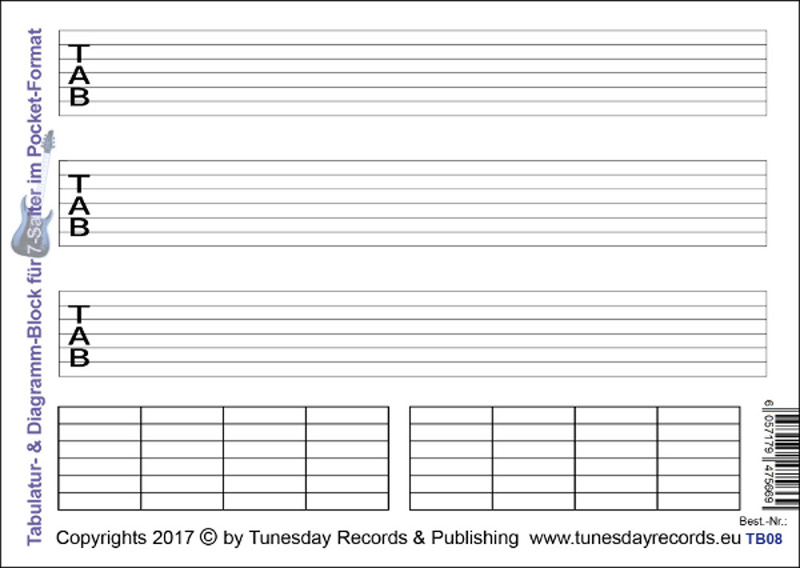 Tabulatur-& Diagramm-Block für 7-Saiter im Pocket-Format ...